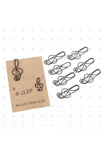 Paper Clips Treble Clef - Black (Pack 8)
