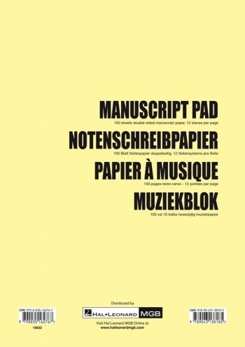 Manuscript: 12 Stave Pad  A4 100 Pages (Hal Leonard)