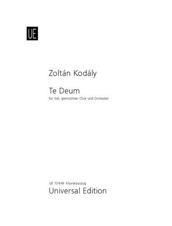 Te Deum: Vocal Score: SATB & Piano (Universal)
