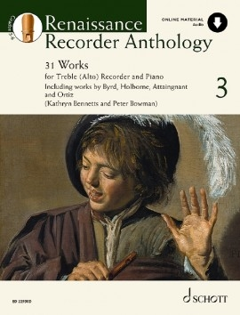 Renaissance Recorder Anthology Vol.3 31 Works For Treble Recorder & Piano Book & CD