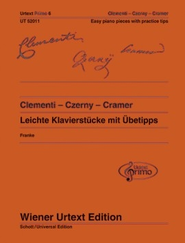 Easy Piano Pieces With Practising Tips - Clementi/Czerny/Cramer Urtext Primo  (Wiener Urte