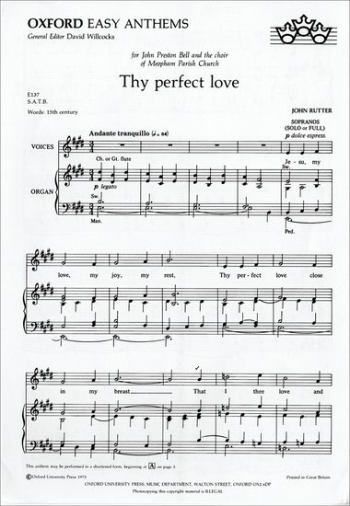Thy Perfect Love Vocal: Satb And Piano