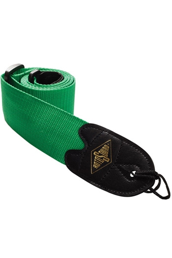 """Guitar Strap: 2"""" Webbing Strap Green With Leather Ends (Rotosound)"""