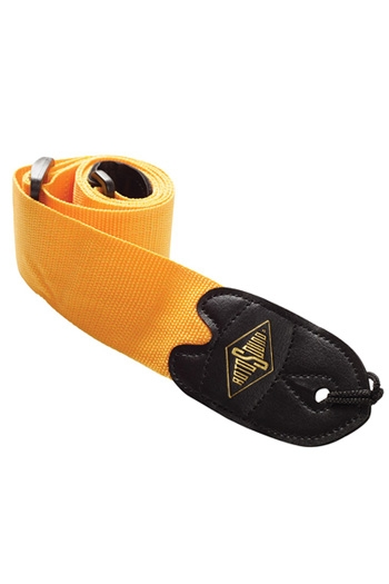 """Guitar Strap: 2"""" Webbing Strap Orange With Leather Ends (Rotosound)"""