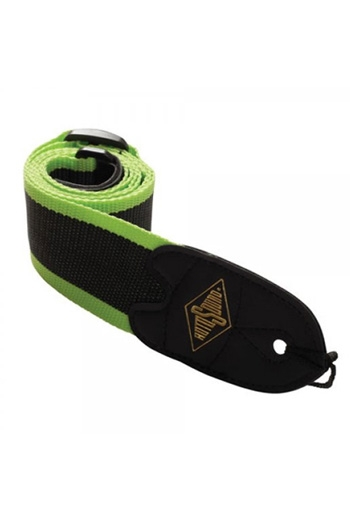 """Guitar Strap: 2"""" Webbing Strap Green Stripe With Leather Ends (Rotosound)"""