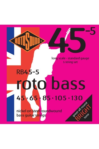 Guitar String: Rotosound Rotobass RB45-5 Nickel On Steel Roundwound 45-130 5 String Set Lo