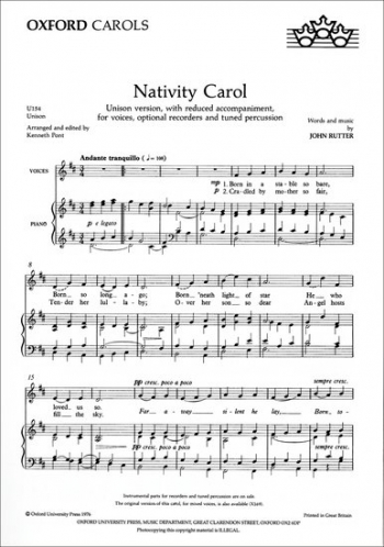 Nativity Carol Vocal Unison (OUP)