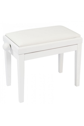 Kinsman White Satin Adjustable Piano Bench