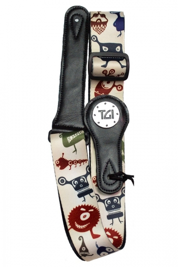 """Guitar Strap 2"""" Weave With Graphic Print. Leather Ends:  Aliens"""