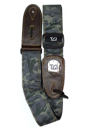 """Guitar Strap 2 """" Weave With Graphic Print. Leather Ends: Green Camouflage"""