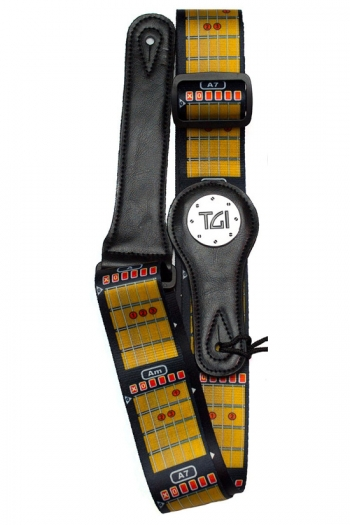 """Guitar Strap 2 """" Weave With Graphic Print. Leather Ends:  Chords"""
