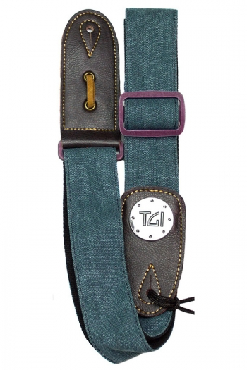 """Guitar Strap 2 """" Weave With Graphic Print. Leather Ends:  Green Denim Purple Buckle"""
