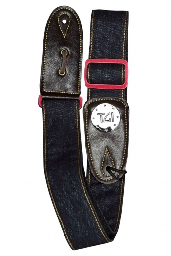 """Guitar Strap 2 """" Weave With Graphic Print. Leather Ends:  Blue Denim Red Buckle"""