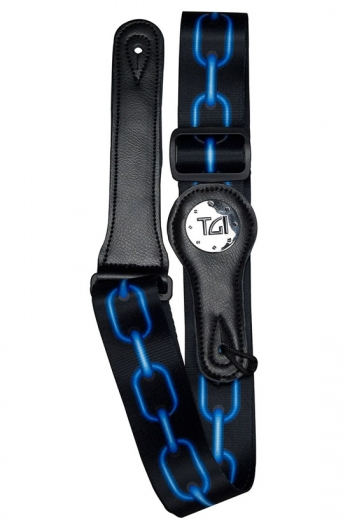 """Guitar Strap 2 """" Weave With Graphic Print. Leather Ends:  Blue Chain"""
