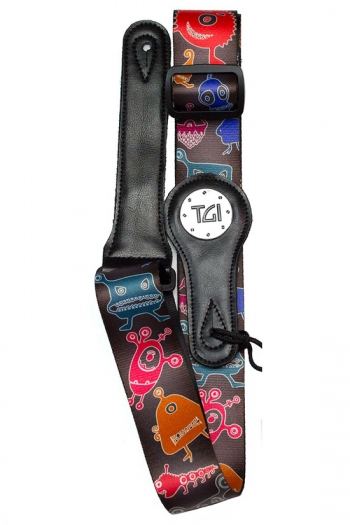 """Guitar Strap 2 """" Weave With Graphic Print. Leather Ends: Aliens Black"""
