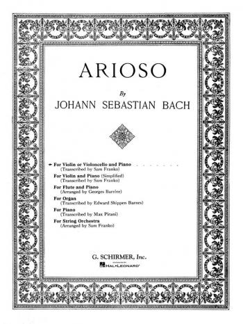 Arioso Violin Or Cello & Piano (Schirmer)