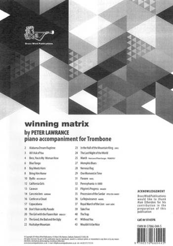 Winning Matrix For Trombone: Piano Accompaniment (Lawrance