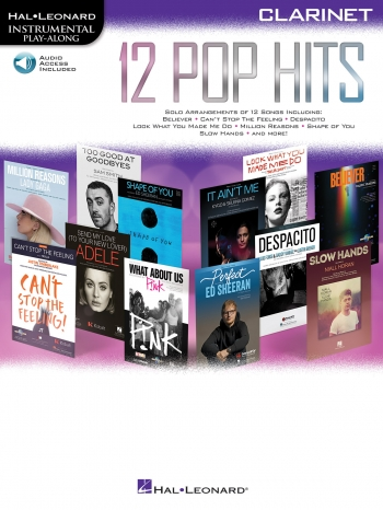 Instrumental Play-along:  12 Pop Hits: Clarinet: Book & Download