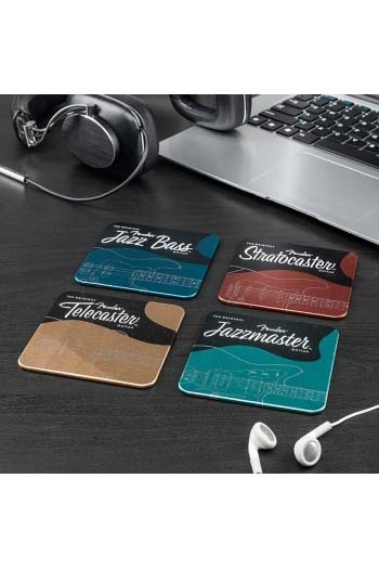 Fender Metal Coaster: 4 Differnt Iconic Guitar Designs