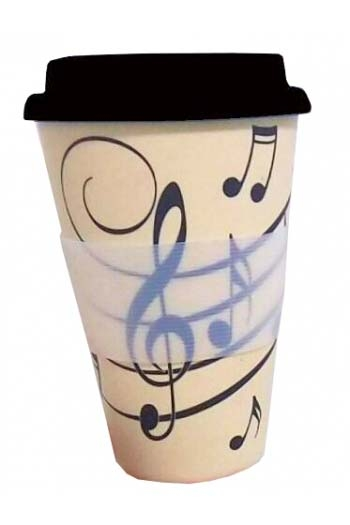 Music Notes - 380ml Bamboo Travel Mug