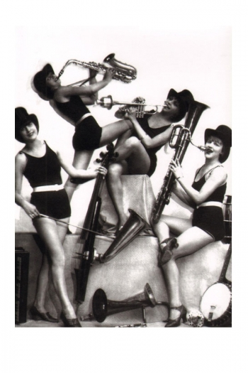 Greetings Cards All Girl Jazz Band Blank Inside