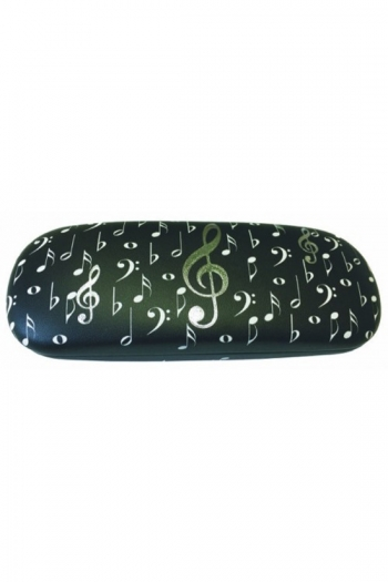 Glasses Case Black With White & Silver Music Notes