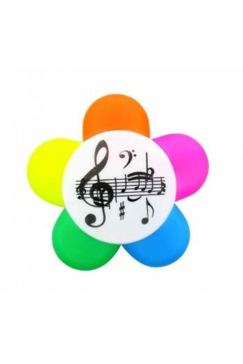 5-Colour Highlighter Pen With Musical Notes Design.