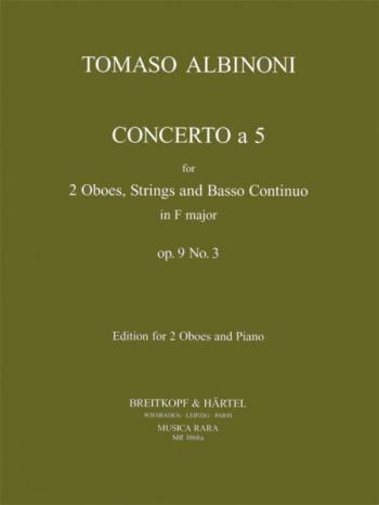 Oboe Concerto Op.9 No.3: 2 Oboes & Piano (Breitkopf)