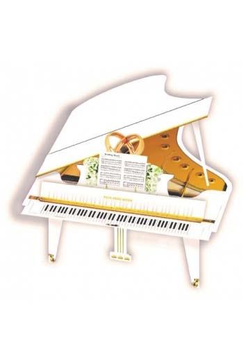 3D Card - White Wedding Grand Piano