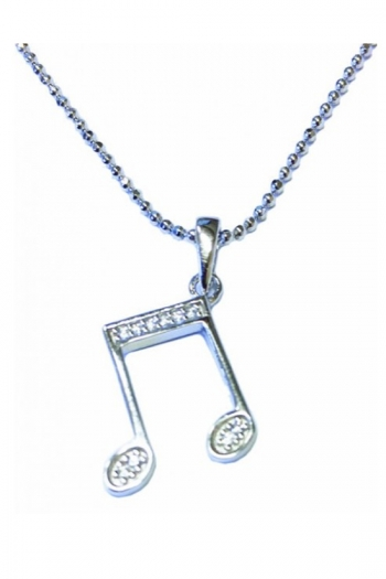 Sterling Silver Double Quavers Pendant With Stones