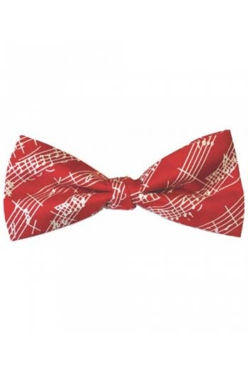 Red Pure Silk Bow Tie With White Manuscript Design