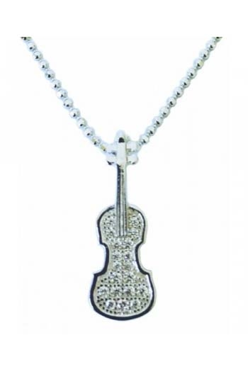 Sterling Silver Violin Pendant With Stones
