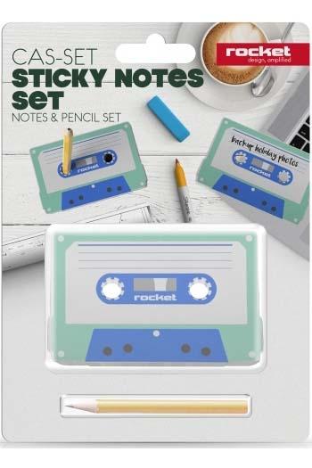 CAS-SET Sticky Notes Set - Notes & Pencil Set By Rocket