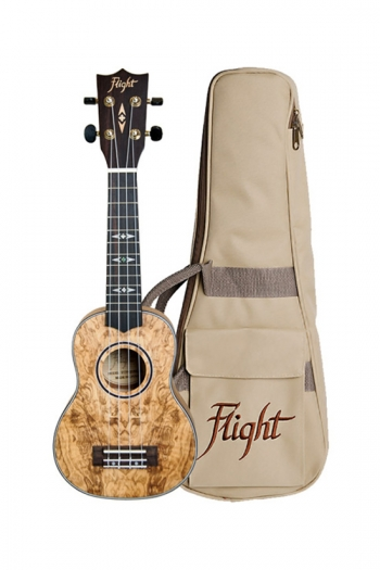 Flight: DUS410 Quilted Ash Soprano Ukulele (With Bag)
