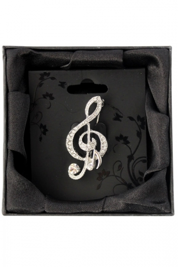 Silver-Plated Diamante Brooch - Treble Clef