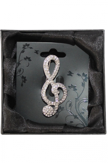 Silver-Plated Diamante Brooch - Treble Clef (large)