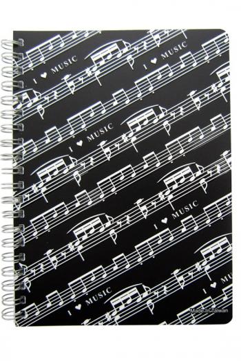 Spiral Bound A5 Notebook - Sheet Music Design (Ruled)