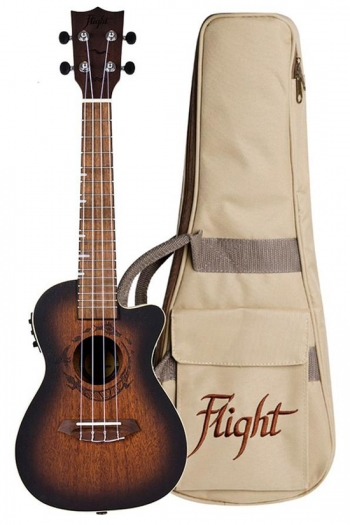 Flight DUC380 CEQ Electric Concert Ukulele - Gemstone Amber (With Bag)