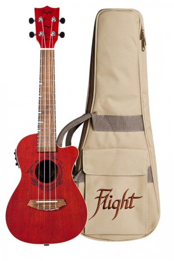 Flight DUC380 CEQ Electric Concert Ukulele - Gemstone Coral (With Bag)