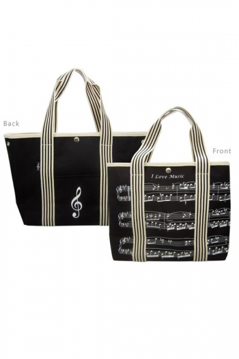 Canvas Tote Bag - Treble Clef & Sheet Music Design