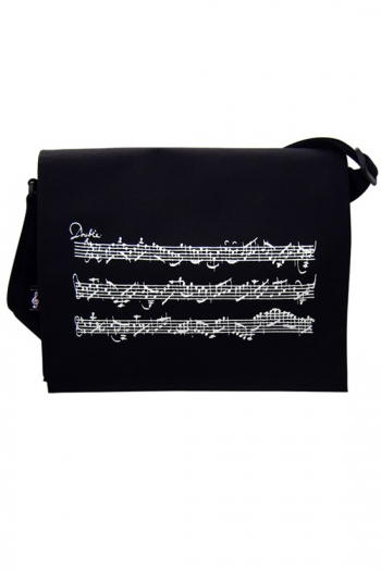 Black Messenger Bag (Canvas) With Music Stave Design