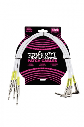 Ernie Ball Patch Cables 1.5ft White 3 Pack