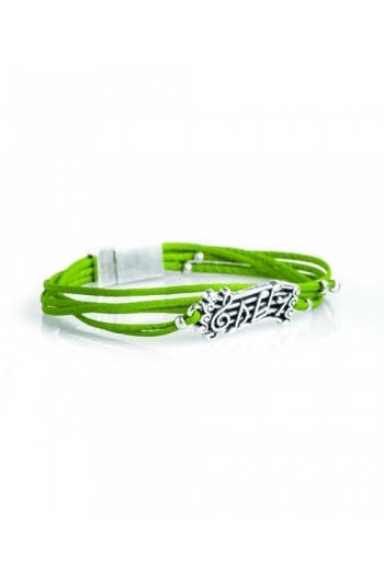 Green Music Score Small Leather Bracelet