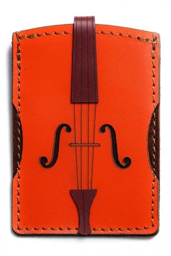 Leather Credit Card Case Violin